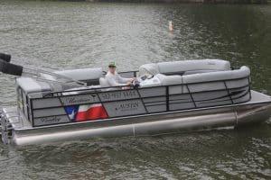 Pontoon Boat on Lake Austin